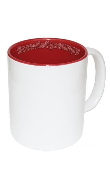 Кружка внутри красная с нанесением