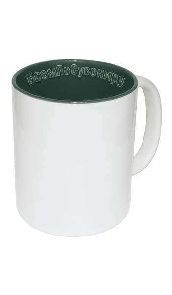 Кружка внутри зеленая с нанесением