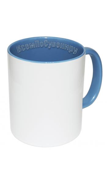 Кружка внутри и ручка голубая с нанесением