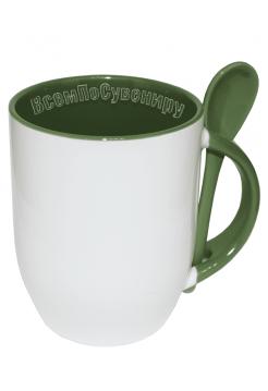 Кружка с ложкой зеленая