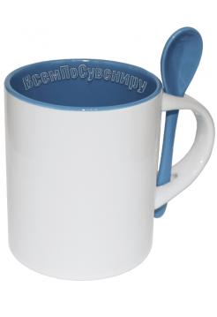 Кружка с ложкой цилиндрическая голубая с нанесением