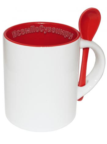 Кружка с ложкой цилиндрическая красная с нанесением