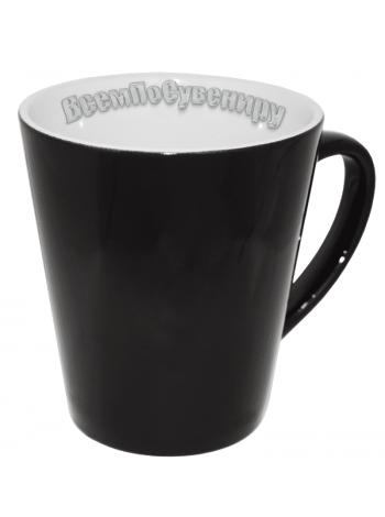 Кружка хамелеон латте черная с нанесением