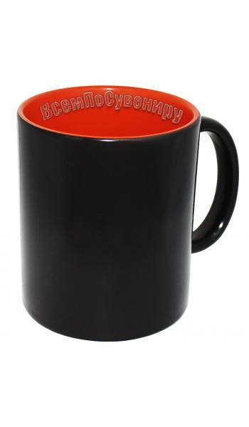 Кружка хамелеон черная внутри оранжевая с нанесением