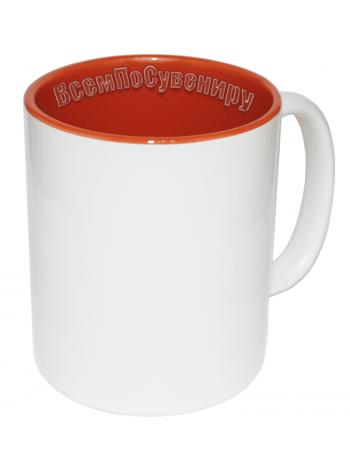 Кружка внутри оранжевая с нанесением
