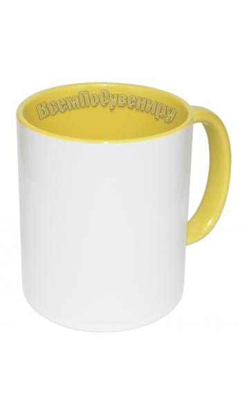 Кружка внутри и ручка желтая с нанесением