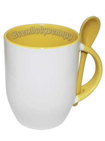 Кружка с ложкой желтая с нанесением