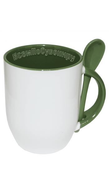 Кружка с ложкой зеленая с нанесением