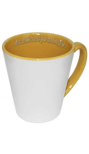 Кружка латте желтая с нанесением